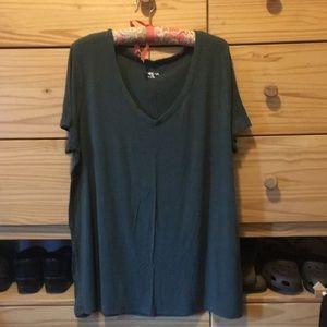 XXL Army Green Slub Knit T-shirt